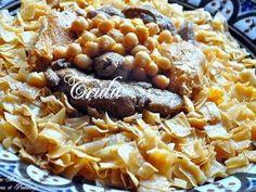 Trida, Mkartfa ou Nwasser sauce rouge تريدة مقرطفة - Couscous et Puddings