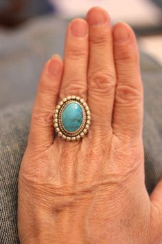 Turquoise Oval Gemstone Ring Marked Sterling Beaded by gemforjoy