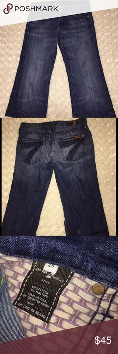 7 for all mankind crop Dojo 7 for all mankind Dojo crop Capri Size 25 Waist 15. Inseam 21. Rise 7.5   No stains rips or holes. Normal wear. Pilling on the back rear side And some distressing to back pockets Bin H 7 For All Mankind Jeans Ankle & Cropped