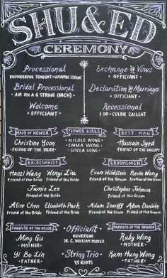 Ceremony print out chalkboard for Shu & Ed's wedding designed by Andrea Casey www.andreacasey.com