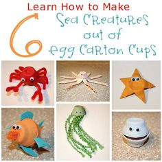 How to Make Sea Creatures Out of Egg Cartons - You will definitely want to start collecting old egg cartons to make these cute little sea creatures. (http://aboutfamilycrafts.com/how-to-make-sea-creatures-out-of-egg-cartons/)