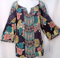 3f816ff850321 New directions plus size women 1x 2x 3x lace 3/4 sleeve floral tunic top  shirt