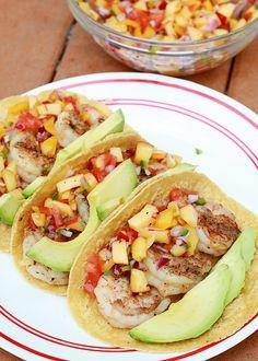 Grilled Shrimp Tacos with Peach Salsa