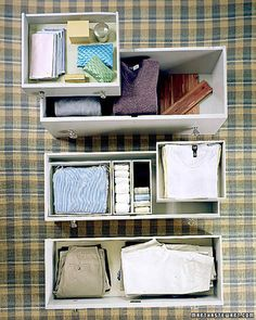 a velvet lining, backed with poster board using archival glue, gives delicate items, such as scarves and jewelry, plush support. Closet Drawers, Bedroom Drawers, Dresser Drawers, Drive Poster, Deep Drawer Organization, Linen Closet Organization, Deep Closet, Clean Bedroom, Bedroom Cleaning