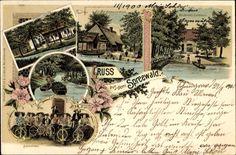 Chromo-Litho Burg im Spreewald, Spinnstube, Buchhan´s Gasthaus, Polenzschänke, Blockhaus.  Postally used 1900.