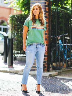 Style a retro tee with jeans and a pair of heels to make your look more modern as seen on Louise Redknapp.