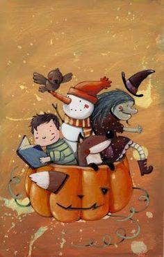 Halloween Reading / Lectores en Halloween (ilustración de Marta Álvarez)