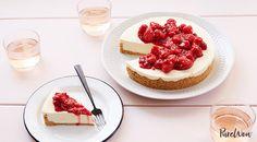 No-Bake Cheesecake with Raspberry Compote via @PureWow