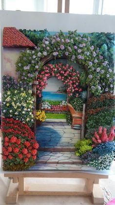 Ümmühan hanımın kağıt rölyef ile çiçekleri-Sümbül ELDEK
