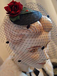 Vintage 40s 50s Style Red Rose Black Hat Fascinator Hat Vintage Wedding Revival   eBay