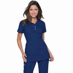 """Longer top from Koi in Navy, 26"""" length (size S) 55% cotton/45% polyester soft twill top, Two functioning snap buttons and deep pockets XS-3X £27.50 #dental #uniforms #nurse #female #scrubs #tunics #top #healthcare #koi #Justine #happythreads"""