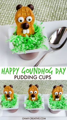 Five Approaches To Economize Transforming Your Kitchen Area These Happy Groundhog Day Pudding Cups Are The Cutest For Preschoolers And Kindergarten Kids The Kids Will Love To Eat These Punxsutawney Phil Nutter Butter Treats Holiday Treats, Holiday Fun, Holiday Recipes, Kid Recipes, Holiday Cookies, Brunch Recipes, Recipies, Dessert Recipes, Groundhog Day Activities