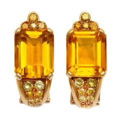 BELPERRON Citrine Heliotrope and Fancy Diamond Earrings
