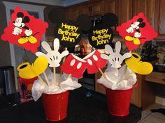 Fourth Birthday, Mickey Birthday, Birthday Fun, First Birthday Parties, First Birthdays, Birthday Ideas, Mickey Mouse Birthday Decorations, Mickey Mouse Centerpiece, Mickey Mouse Clubhouse Party