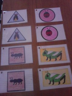 Matching Cards; index cards, draw pictures, laminate. Excellent for sorting bug, shape or color.