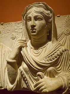 Closeup of Funerary Portrait of Balya Daughter of Yarkhai from Palmyra in Roman Syria 150-200 CE Limestone. Portland Museum of Art. Picture taken by Mary Harrsch.
