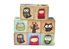 Owl and Woodland Creatures Wooden Blocks. $55.00, via Etsy. --- I need this for his new room - maybe for XMAS ?