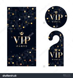 VIP zone members premium invitation card, warning hanger and round label badge. Black and golden design template set. Pixel mosaic texture.