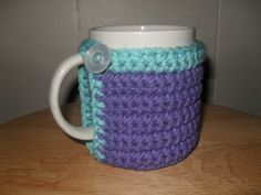 Crocheted mug cozy cup cozy in purple and by TheLeftHandedHooker, $10.00