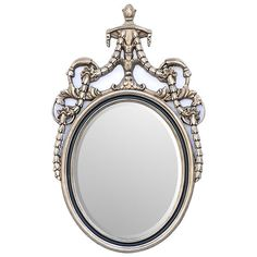 Wall Mirror Oval Federal Style w/ Silver Leaf New Free shipping