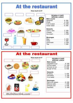 Divide students into pairs. Give student A a blue card and student B a red card. They have to ask how much the diffent food cost.If you want to practice more, you can find more of my worksheets about the same subject here: https://en.islcollective.com/mypage/resources?Tags=pairwork&searchworksheet=GO&type=Printables&view=gridcountries - ESL worksheets