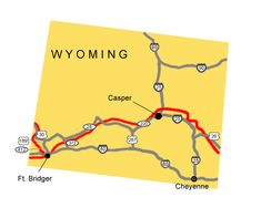 Map image of the auto tour route driving directions across Wyoming.