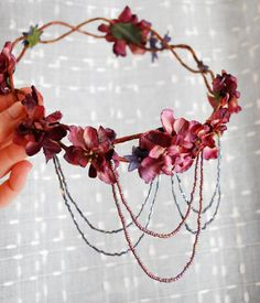 Vanlanthiriel cascading floral elf crown by gardensofwhimsy, $67.00