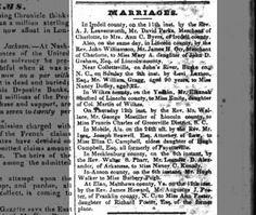 Marriage (31 Jul 1837, Weekly Raleigh Register, Raleigh, NC)  William Gregg 90 years married 22 year old.