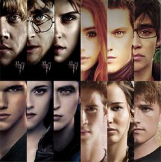 The Hunger Games, Twilight, Harry Potter and The Mortal Instruments Trios