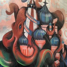 Brighton street-art / graffiti: featuring a giant Squid and Brighton Pier - in The Lanes