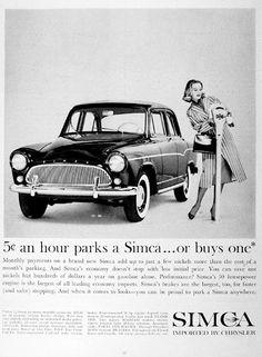 1960 Chrysler Simca Sedan original vintage advertisement. Buy one for 5 cents an hour!