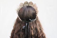 Lace Crown - Neutral Taupe Romand Goddess Lace Crown. Tiara, Queen, Princess Bride, Costume, Halloween. $40.00, via Etsy.