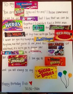 Birthday Poster With Candy For Boyfriend 43+ Best Ideas Birthday Candy Grams, Birthday Candy Posters, Candy Birthday Cards, 18th Birthday Cards, Birthday Diy, Birthday Ideas, Birthday Parties, 11th Birthday, Birthday Nails