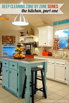 {FORGET THE DEEP CLEANING- Look how cute this kitchen is. Its bright and fun and very welcoming. MJP} Deep Cleaning Zone by Zone Series: The Kitchen {with free printable cleaning chart} Kitchen Redo, Kitchen Remodel, Kitchen Dining, Kitchen Cabinets, Kitchen Cleaning, Kitchen Island, Kitchen Ideas, Basement Kitchen, Open Kitchen