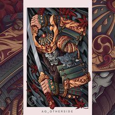 Samourai Tattoo, Mythology Tattoos, Japanese Tattoo Designs, Japan Tattoo, Samurai Swords, Dark Fantasy Art, Graphic Design Illustration, Japanese Art, Illustrations Posters