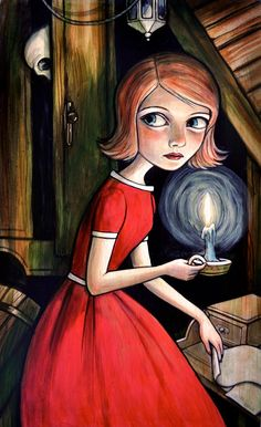 "Nancy Drew in ""The Secret of the Old Attic"" illustration by Kelly Vivanco"