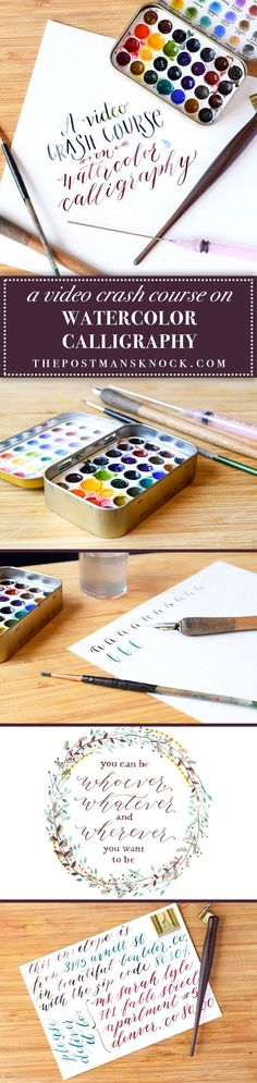 """After reading this blog post (and watching the ~10 minute video """"crash course""""), you'll be well on your way to creating watercolor calligraphy with a dip pen!"""