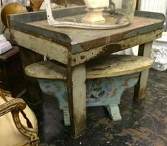 """Industrial Work Table   46.5"""" Wide x 36"""" Deep x 37"""" High   $495  Utopia Antiques, Dealer 444  White Elephant Antiques 1026 N. Riverfront Blv... White Elephant, Industrial Chic, Table, Deep, Antiques, Furniture, Home Decor, Antiquities, Antique"""