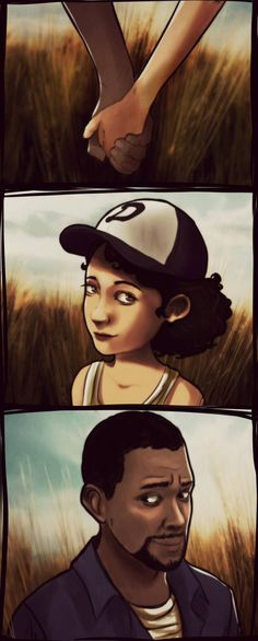Lee & Clementine from the Walking Dead video game. So. Many. Feels.