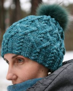 Free Knitting Pattern for Agathis Hat - Versatile cable hat by Agata Smektala can be knit slouchy or beanie style, with or without pompom. Pictured project by Mammutis.