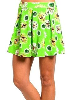 Sexy Green Flower Sunflower Pleated High Waist pleated Surfer Skater Skirt New M #shopjaded #Pleated