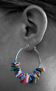 colorful earrings- made from recycled magazines