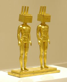 """""""Homo-Industrialis"""", 1987, Lauren Ewing, American (b. 1946), bronze with gold leaf, 13 1/4 x 10 1/2 x 4 in. Anonymous gift, 2001. 2001.29.8"""