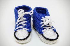 BlueS- crochet blue sneakers for your baby, Ręcznie wykonane przez With Love by Paula w kategorii Dzieci/Moda dla niemowląt. W mieście Kraków, Polska