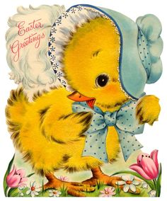 vintage easter card - another cute easter chick                                                                                                                                                     More