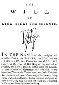 Will of Henry VII