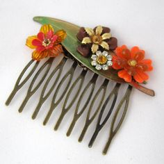 Autumn fall Vintage Bridal Hair Comb in orange and gold  - Collage Wedding Hair Piece on Etsy, 197,18 kr