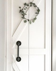 My foyer closet door from plain bifold to diy barn/ farmhouse style barn door for closet doors Diy Closet Doors, Closet Door Makeover, Barn Door Closet, Diy Barn Door, Rustic Closet, Closet Door Handles, Rv Makeover, Closet Door Bifold, Modern Closet Doors