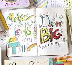 Dream Big art journaling hand written journal pages