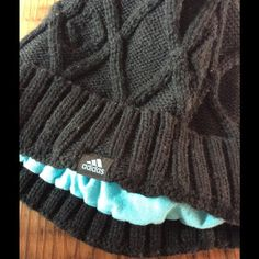 Adidas beanie Cute crochet beanie. Black with turquoise lining. Adidas Accessories Hats